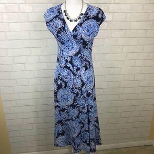 Jones New York Blue Paisley Maxi Dress Size 6